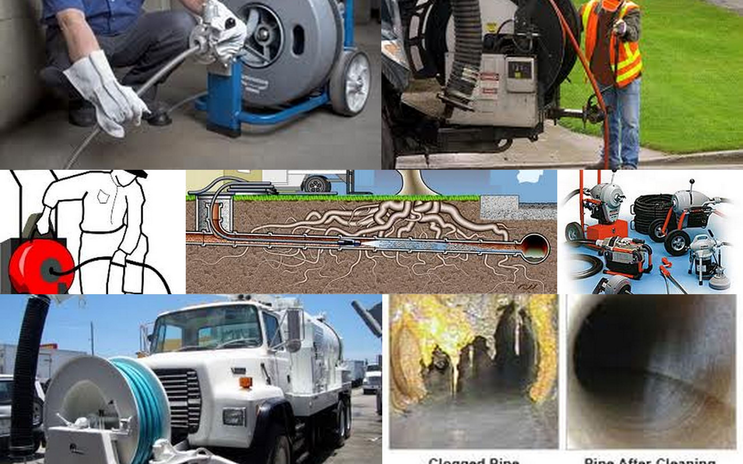 Sewer Cleaning Collage